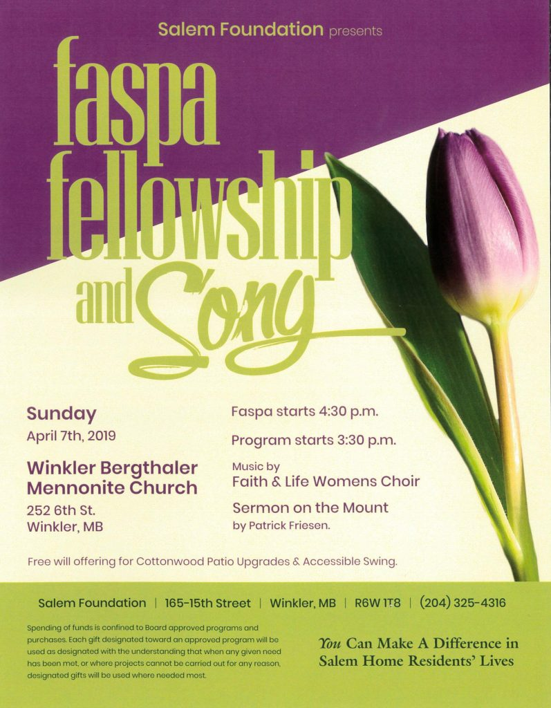 Spring Faspa, Fellowship and Song poster for April 7th